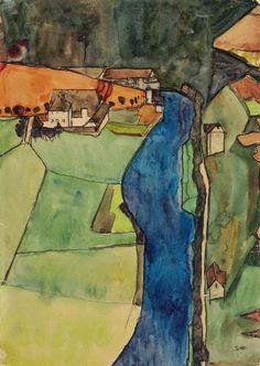 Egon Schiele (1890-1918) Town on the Blue River, Krumau (1910) gouache, watercolor, metallic paint and black Conté crayon on paper 45 x 31.4 cm