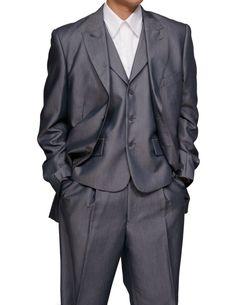 New Mens 3 Piece Slim Fit Gray Sharkskin Dress Suit with Flat Front Pants & Vest