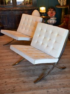 Barcelona Chair Leather Swivel Types 979 Best Images Chairs Pair Of Original With White Mies Van Der Rohe For Knoll