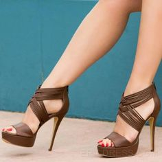 la correa del tobillo de chocolate sandalias de tacón de aguja Sandalias  Tacón de aguja Zapatos 95df96868a80