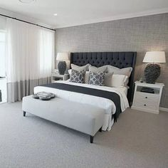 Master bedrooms decor - Everyone should treat their bedroom like a sanctuary We especially love the Hamptons cosy decor in our Boston 36 at the Super Centre, Parklea ClarendonHomesNSW Master Bedroom Interior, Small Master Bedroom, Home Decor Bedroom, Master Bedrooms, Bedroom Red, Bedroom Colors, Master Suite, Grey Carpet Bedroom, Ikea Bedroom