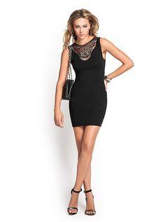 GUESS Sleeveless Crochet-Lace Knit Dress Front $79.00