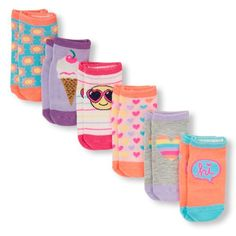 Baby Girls Toddler Mixed Print Ankle Socks 6-Pack - Multi - The Children's Place