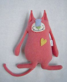 Cashmere Cat Stuffed Animal Coral Upcycled Repurposed Sweater.