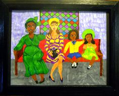 JUST SOLD! 4/9/16 - Mixed Media Painting Ducks in a Row Primitive Ethnic Folk Art women of color Church Ladies, Mother's Day Gift