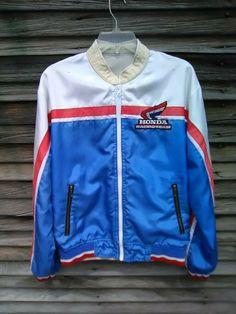 737c586598b3f9 Vintage 1970's Honda Motorcycle Racing Team Windbreaker Red White #fashion  #clothing #shoes #
