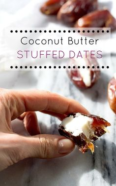 Coconut Butter Stuffed Dates AIP Paleo treat: Dates stuffed with coconut butter are the best 2 ingredient AIP/Paleo treat! Plus the real life results on the brain and body when you stop eating sugar. Paleo Dessert, Paleo Sweets, Raw Food Recipes, Snack Recipes, Cooking Recipes, Healthy Recipes, Paleo Ideas, Vegan Snacks, Sweet Recipes