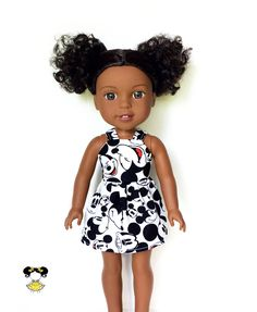 Dress, Spaghetti Strap, Disney, Mickey Mouse, Black, White, Red, 14.5, 14 inch Doll Clothes, Wellie Wishers, Summer by JoDeePetites on Etsy https://www.etsy.com/listing/545284359/dress-spaghetti-strap-disney-mickey