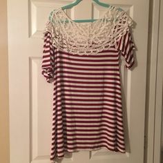 New without tags! Boutique tunic! Maroon and cream striped tunic with lace collar accent. Bought from a boutique and just have not worn it! Size Medium! Giddy Up Glamour Boutique Tops Tunics