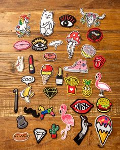 Good Sizes,You can iron on it or sew on it. Patches are all iron available on the back, video of how to do is below. Perfect for DIY project on kids, baby's or Adults(denim etc. Cute Patches, Diy Patches, Pin And Patches, Iron On Embroidery, Embroidery Patches, Embroidery Patterns, Machine Embroidery Projects, Shrinky Dinks, Cute Stickers