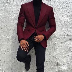 Black turtleneck, pants, maroon peak lapel blazer, weekend