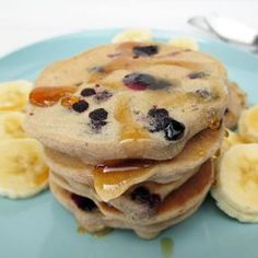 Bananen Blaubeer Pfannkuchen (Vegan, Glutenfrei, Ohne Zucker, Ohne Öl)