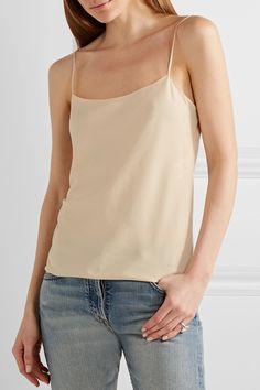 Cream matte-satin Slips on Fabric1: 96% polyester, 4% elastane; fabric2: 100% silk Dry clean