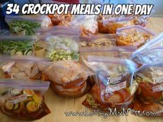 Clean eating Crock Pot Freezer Meals - prepare 34 meals in one day, Includes shopping list!