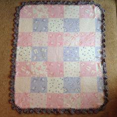$11.50 SHIPPED! NEW Handmade Fleece Baby Blanket With Crocheted Edging! Pink & Purple Print #handmade