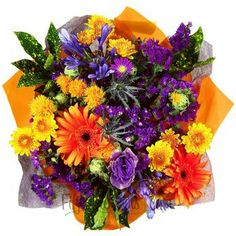 FiftyFlowers.com - Bridal Centerpieces Orange and Purple Flowers