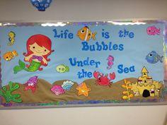 Under the Sea – Tiere Sea Bulletin Board, Preschool Decor, Underwater Theme, Room Wall Painting, Board Decoration, Unicorns And Mermaids, Under The Sea Theme, School Decorations, Ocean Themes