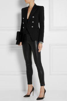 Balmain | Double-breasted piqué blazer | NET-A-PORTER.COM - black or navy
