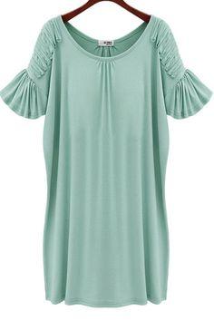 #Aprilwe  Ruffled Sleeve Scoop Neck Straight Dress