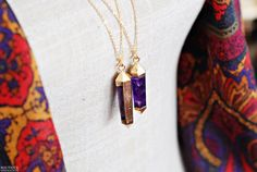 Large Amethyst Point necklace with gold by BoutiqueMinimaliste