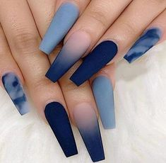 Cute Acrylic Nails 839569555521461168 - Attractive & Unique Nail Trends to Copy Now – Source by Blue Acrylic Nails, Summer Acrylic Nails, Acrylic Nail Designs For Summer, Acrylic Nail Designs Coffin, Coffin Nails Designs Summer, Blue Coffin Nails, Acrylic Art, Summer Nails, Stylish Nails
