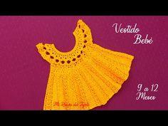 Baby Knitting, Crochet Baby, Knit Crochet, Crochet Girls Dress Pattern, Crochet Patterns, Vestidos Bebe Crochet, Baby Kids Clothes, Crochet Videos, Doilies