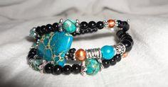 Triple Gemstone Bracelet  Sea Jasper  Freshwater by Willowette, $46.00