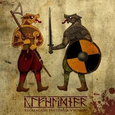 Úlfhédnar Recreación Vikinga...  contemporary recreation of similar depictions found on scandinavian standing stones. Úlfhédnar, were the mysterious Wolf Warriors, about which very little is known.
