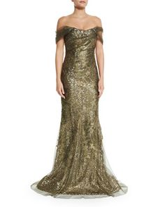 Golden Off-the-Shoulder Metallic Gown, Rene Ruiz | Neiman Marcus  [in case you are invited to a Downton Abbey Finale party]