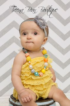 Glitter Silver Headband with romper set and bubble necklace.  20% off at http://www.etsy.com/listing/158606577/silver-glitter-headband-lace-headband?ref=listing-shop-header-3