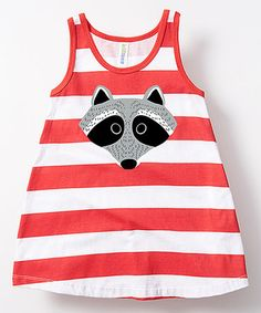 Red & White Stripe Raccoon A-Line Dress - Toddler & Girls #zulily…