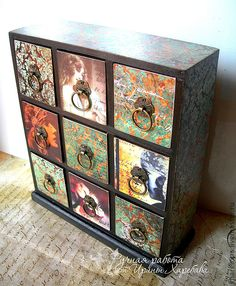 Cabinet with floral and Victorian art paintings