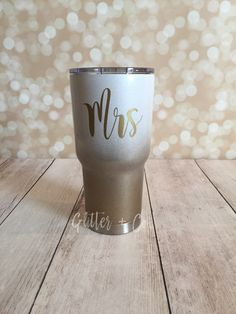 MRS Ombre Powder Coated Glitter Yeti-Style Tumbler / Wifey / RTIC / Custom Yeti-Style Tumbler / Custom Gift / Personalized Cup by GlitterandCoGifts on Etsy https://www.etsy.com/listing/481420271/mrs-ombre-powder-coated-glitter-yeti