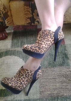 NEW GUESS LEOPARD PRINT HIGH HEEL ANKLE BOOTIE SIZE 8.5 BRAND NEW $110 VALUE #GUESS #FashionAnkle