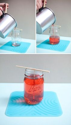 I tried this and it's super cute but my only tip is make sure you add a LOT of scent, my candle is really weak. I used a crackle wick in mine as well.