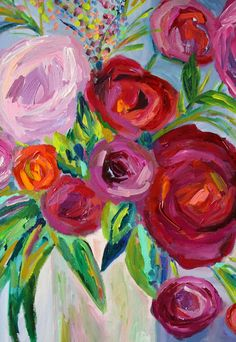 Large Still Life Abstract Flowers Plum por CarolynShultzFineArt