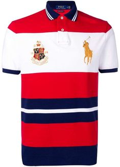 Polo Ralph Lauren Crest-embellished Polo Shirt In Red Polo Shirt Outfits, Polo T Shirts, Gucci Shirts, Camisa Polo, Ralph Lauren Hombre, Ralph Lauren Store, Ralph Laurent, Swagg, Man