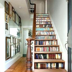 Book shelves built into the stairs