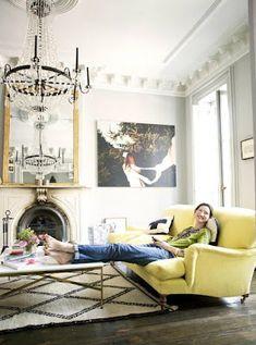 Beni Ouarain rug, table, sofa color, mirror - all of it.