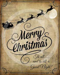 Primitive Merry Christmas Santa Claus Sleigh by Starrmtnprims, $3.00