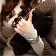 Fashion Skull Ring Pattern Women Clutch Purse Bag Handbag