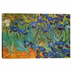Canvas reproduction print of Vincent van Gogh's Irises.     Product: Wall artConstruction Material: Canvas and pine woodFeatures:  Reproduction of original art by Vincent Van GoghUltrachrome and anti-fade inksNorth American anti-shrink pinewood bars Notes: Large size comes as a three panel setCleaning and Care: Avoid high levels of moisture or humidity. Do not use any chemical fluids or sprays to clean your canvas print. Dust gently with a soft dust cloth.