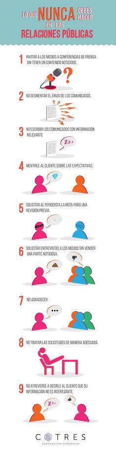 Lo que nunca debes hacer en Relaciones Públicas. #Infografia #RRPP