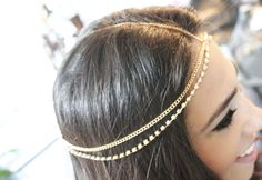 European trendy style double layer crystal stone jewels hairbands bride head chain accessories18k gold fine hair jewelry