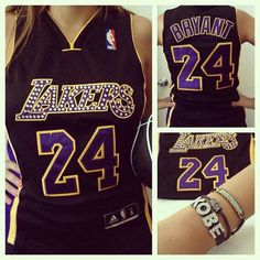 Custom Lakers jersey with Swarovski crystals  by GlamShackGirls, $85.00