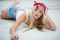 American, Red Bandana, 4th of July outfits, red nails, red lips, red white & blue, stars and stripes, 4th of july photo shoot, July 4th photo ideas, jul 4th styled shoot, American styled photo shoot, high school senior portraits