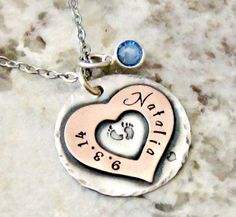 Push Present, Birthstone Personalized Hand Stamped New Mom Necklace - Adoption, Baby Feet, New Baby by lilybrookevintage on Etsy https://www.etsy.com/listing/200043326/push-present-birthstone-personalized