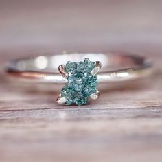 Raw Ocean Green Diamond Ring | Tribal | Bohemian Gypsy Jewelry | Boho Festival Jewellery | Hippie Style Fashion | Indie and Harper
