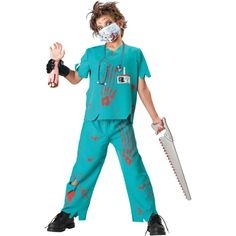 Zombie Biohazard médico para Hombre Halloween Horror Party Fancy Dress Costume