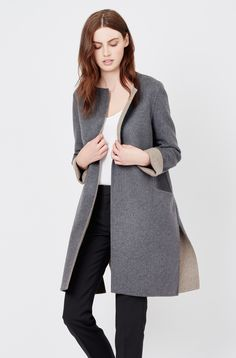 Attention to detail brings a tailored edge to our new seasonless soft coat. A divine mix of soft wool and cashmere defines this new design, beautifully crafted in Italy. It is realized in a versatile A-line silhouette that will fall effortlessly over your looks. Slip this indulgent piece on for any occasion that calls for added warmth elegance.